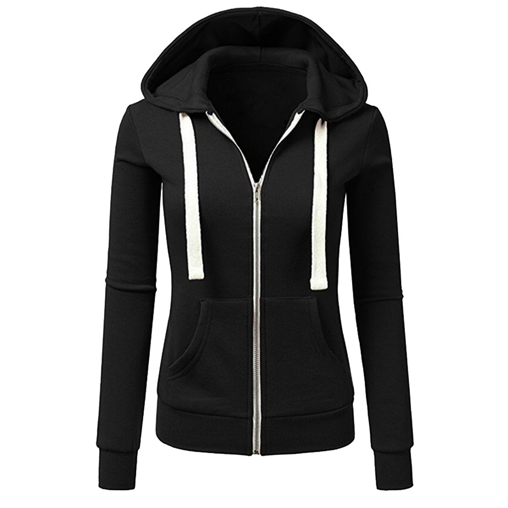 Women hoodie Sweatshirts Long Sleeve Patchwork Women's Solid Color Hooded Zipper Casual Sport Coat Tops Blouse