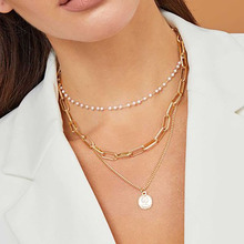 Women's Coin Pearl Chain Necklace Fashion Multilayer Choker Necklaces for Women Statement Pendant Necklace Collares Gold Jewelry yikalaisi 2017 long multilayer pearl necklace natural freshwater pearl choker charm accessories statement necklace for women