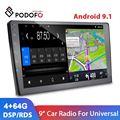 Автомагнитола Podofo, 2 Din, Android 9,1, 9 дюймов, мультимедийный видеоплеер, Раздельный экран, RDS DSP, стерео, для VW Nissan Hyundai Kia Toyota