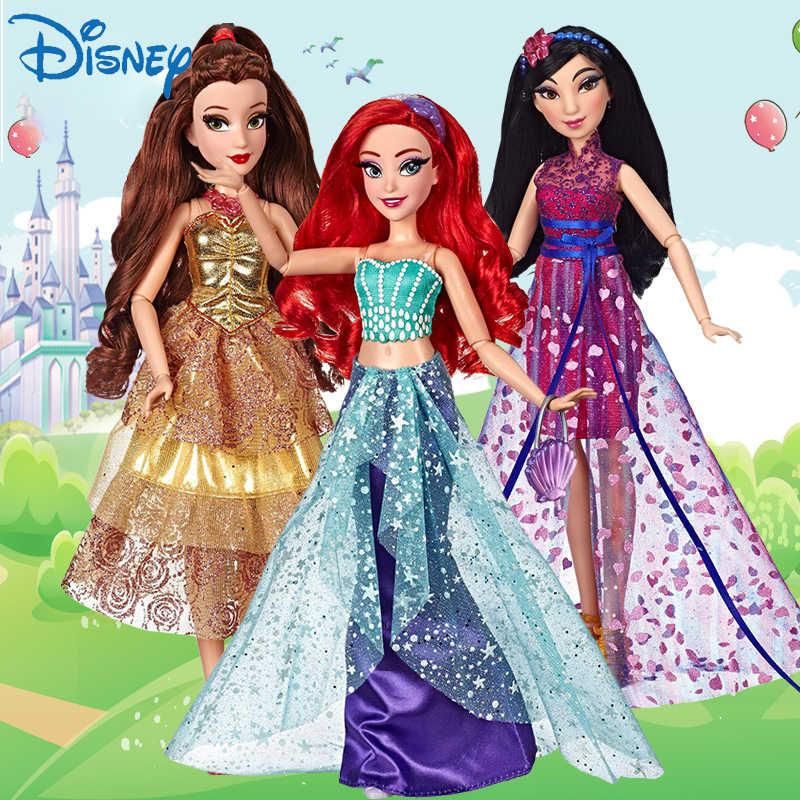 حقيقية ديزني الجنية دمية على شكل أميرة الكلاسيكية دور بيل مولان ارييل رابونزيل دمية نموذج الفتيات لعب الأطفال هدية الكريسماس