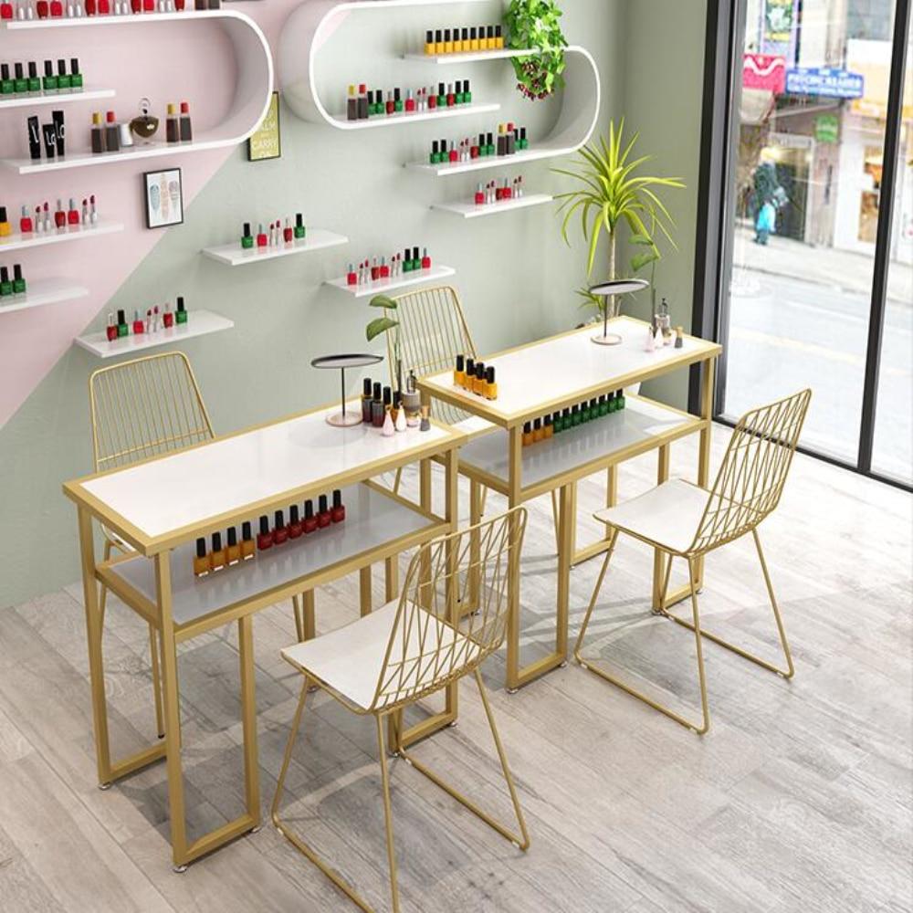 Manicure Table And Chair Suit Economic Manicure Shop Decoration Single Double Marble Net Red Double Deck Manicure Table