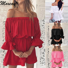 Moxeay Cascading Ruffle Mini Holiday Dress Off Shoulder Backless Frill Sleeve Sundress Elastic Waist Dresses Plus Size