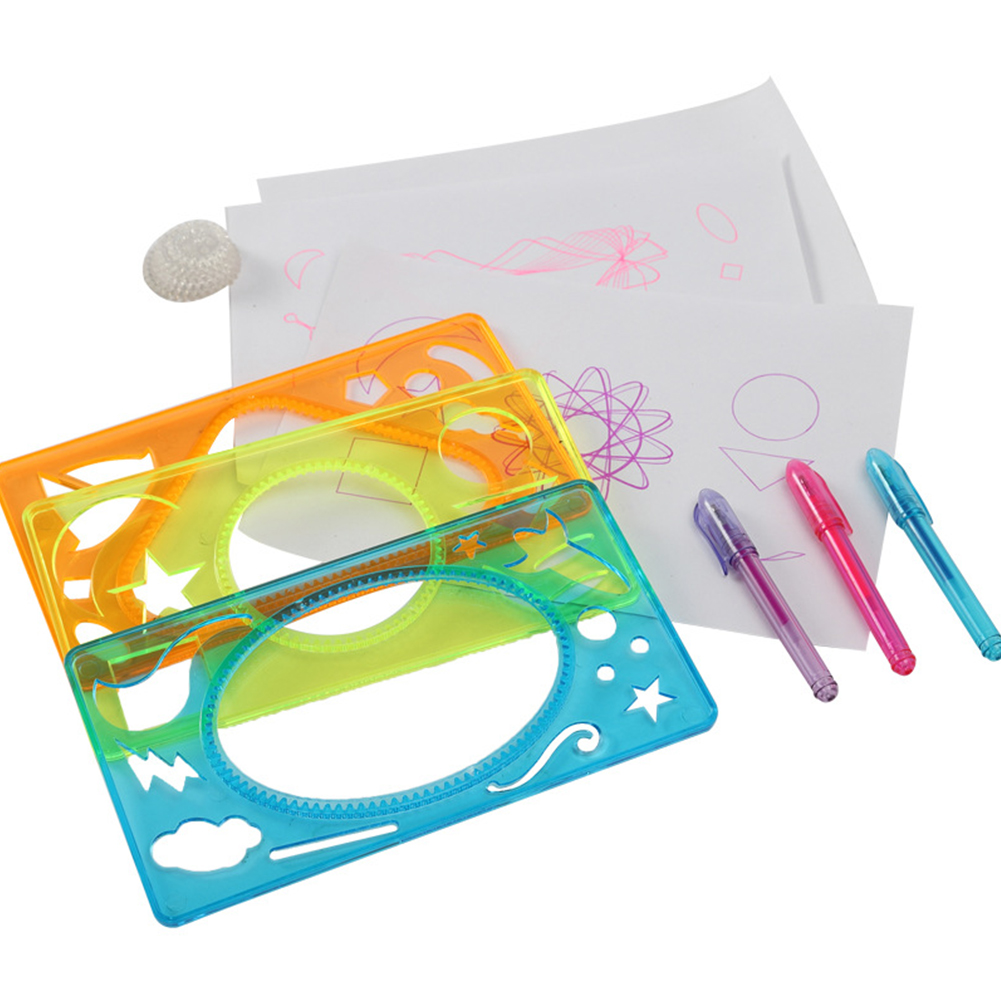 18pcs/set Learning Kids Gift Stationary Supplies Drafting Tool Drawing Students Children Geometric Ruler Spiral Stencil Template