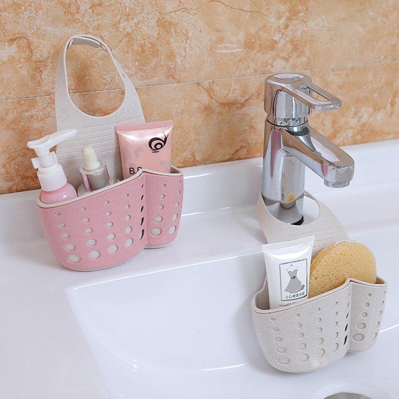 Wheat Doublelayer Adjustable Snap-on Sink Shelf Soap Storages Bag Kitchen Rack Faucet Sponge Suction Drain Rack Bathroom Holder