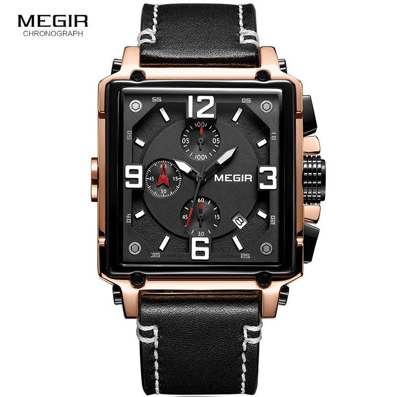Image 3 - Megir Leather Strap Army Chronograph Quartz Wrist Watches Men Square Sports Stop Watch Man Clock Relogios Masculino 2061 RoseQuartz Watches   -