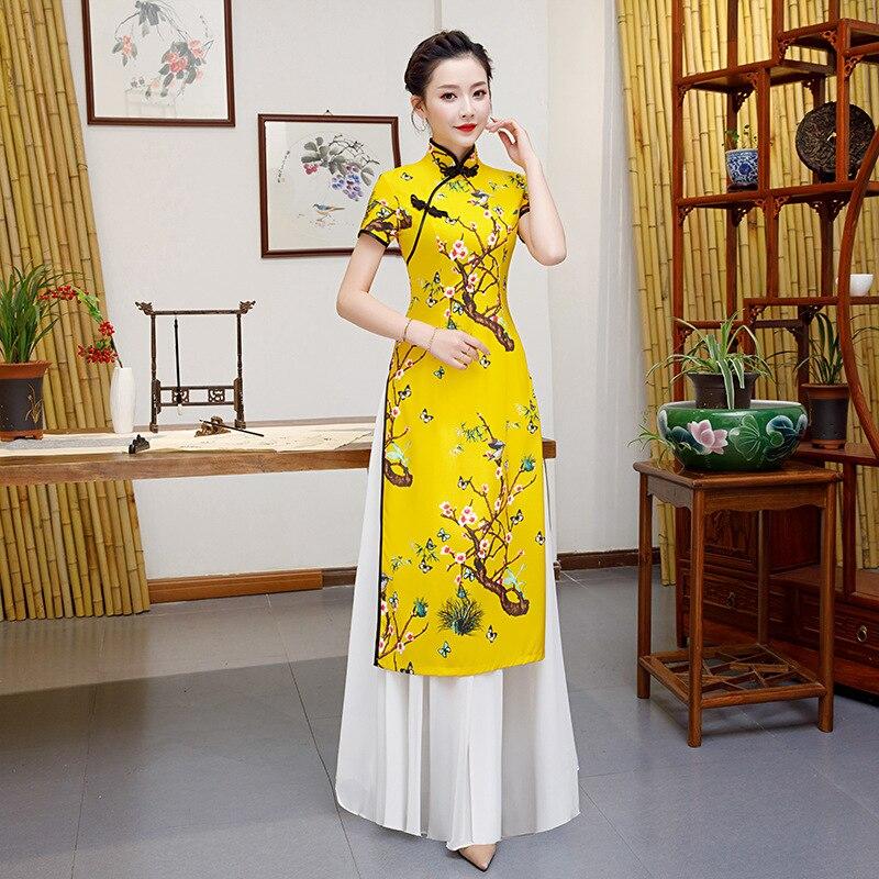 Yellow Plus Size 5XL Chinese Traditional Women Aodai Qipao Print Flower Vintage Cheongsam Novelty Chinese Formal Dress