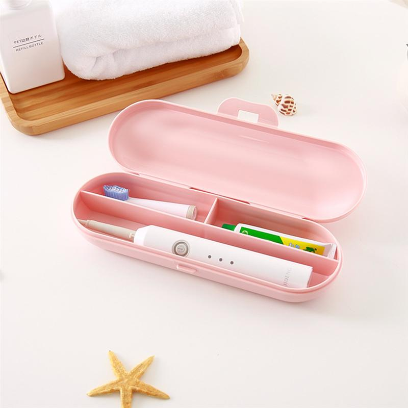 OUNONA Electric Toothbrush Case Portable Plastic Toothbrush Storage Box Toothpaste Case Holder For Camping Travel