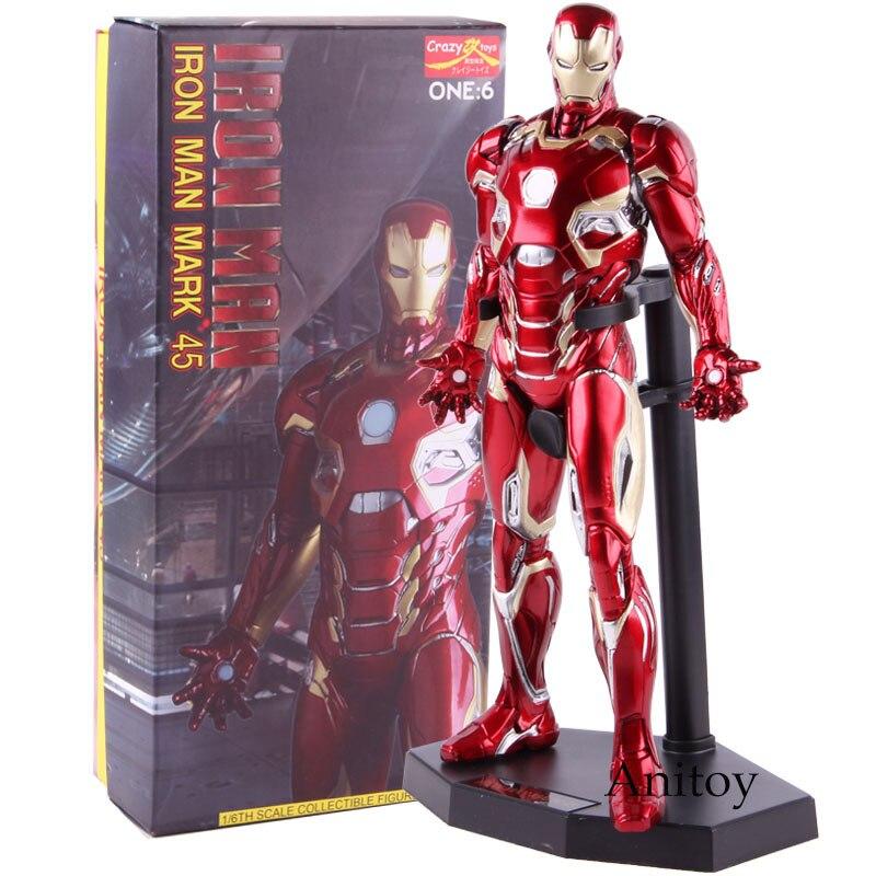Fou jouets 1:6 fer homme marque XLV fer homme MK45 1/6 échelle Ironman Action Figure à collectionner modèle jouet