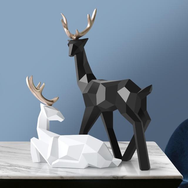Deer Statue Family Deers Figurines Resin Sculpture Home Decor Reindeer Scandinavian Home living room decoration 3