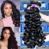 Свободные волнистые волосы для наращивания человеческие волосы пучки с закрытием бразильские виргинские волосы плетение пучки 100% человеч...