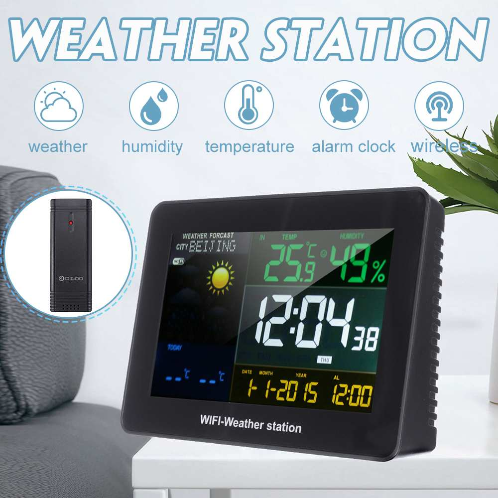 Big Screen WIFI Wireless Weather Station With Outdoor Remote Sensor Snooze Alarm Clock Temperature,Humidity, Barometer Black