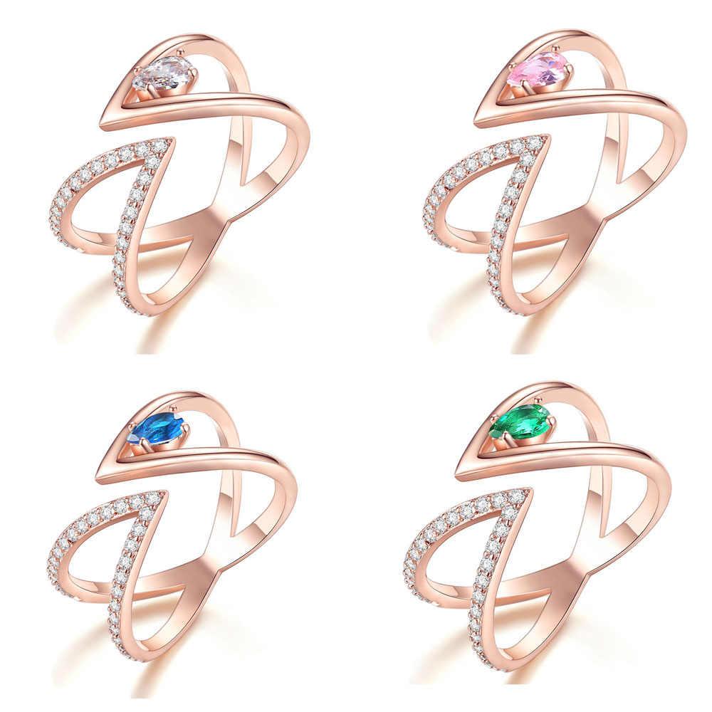 Anillos de mujer de moda V carta Cruz tamaño abierto anillo de dedo de corte redondo Perla Negra anillos elegantes delicados regalo de joyería de aniversario