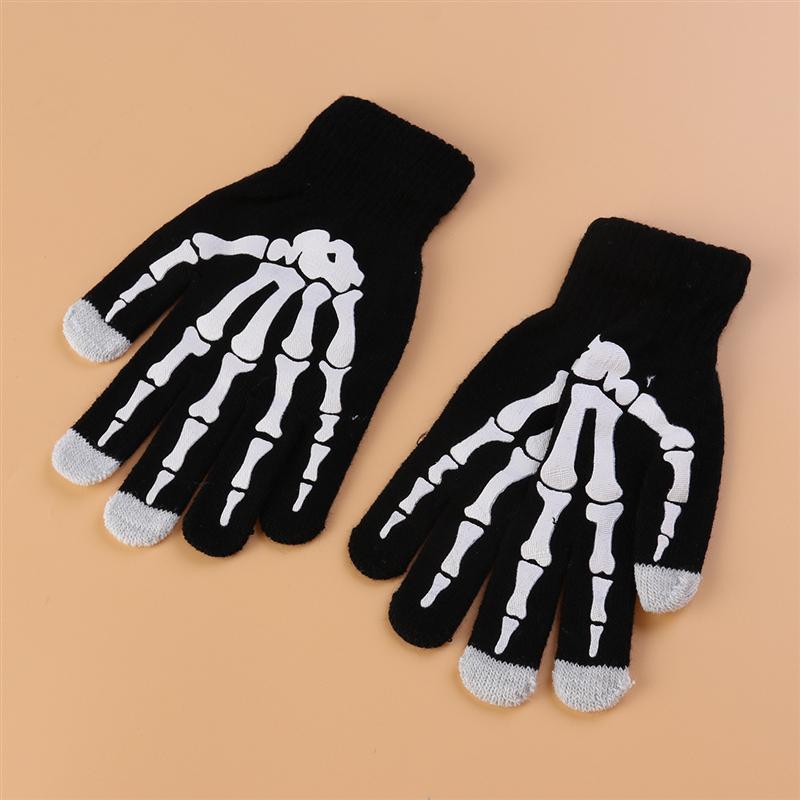 1Pair Glow In The Dark Skeleton Print Touchscreen Knit Gloves Women Men Winter Warm Gloves Accessories