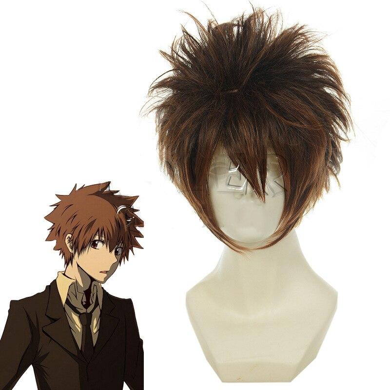 Katekyo hitman renascer sawada tsunayoshi peruca cosplay curto mistura marrom macio resistente ao calor de fibra peruca de cabelo traje perucas