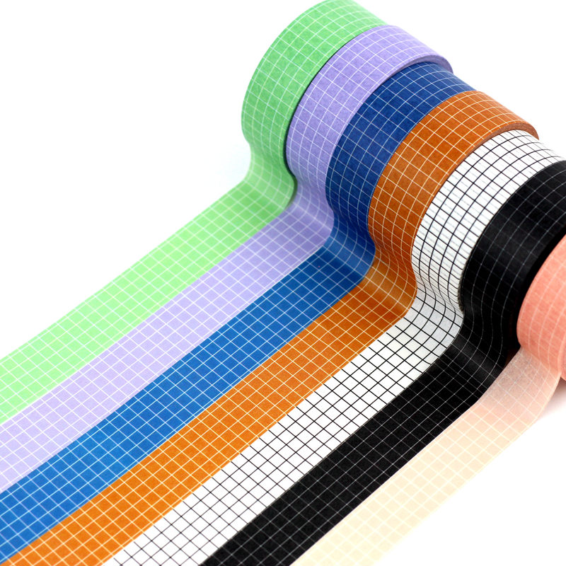 10M Black White Brown Grid Washi Tape Japanese Paper DIY Planner Masking Tape Adhesive Tapes Stickers Decorative Stationery Tape