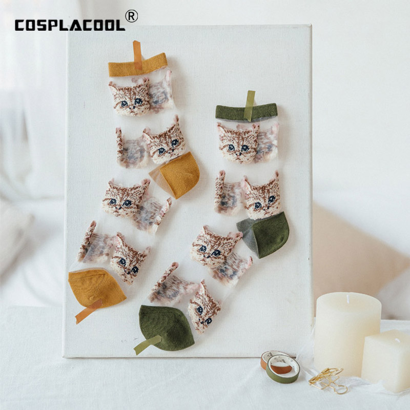 COSPLACOOL Cute Transparent Embroidery Funny Socks Women Kawaii Harajuku Thin Glass Silk Socks Japanese Calcetines Mujer Sokken