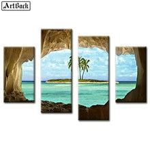 5d diy diamond painting seascape four spell decoration landscape mosaic sticker