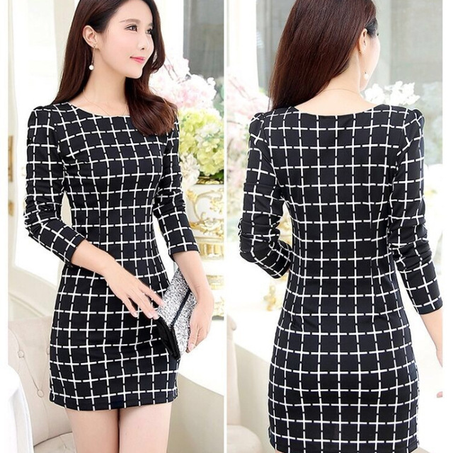 2020 Long Sleeve Plaid Casual Winter Autumn For Women O-Neck Black White Woman Party Night Mini Dress Plus Size Vestidos Dresses 3