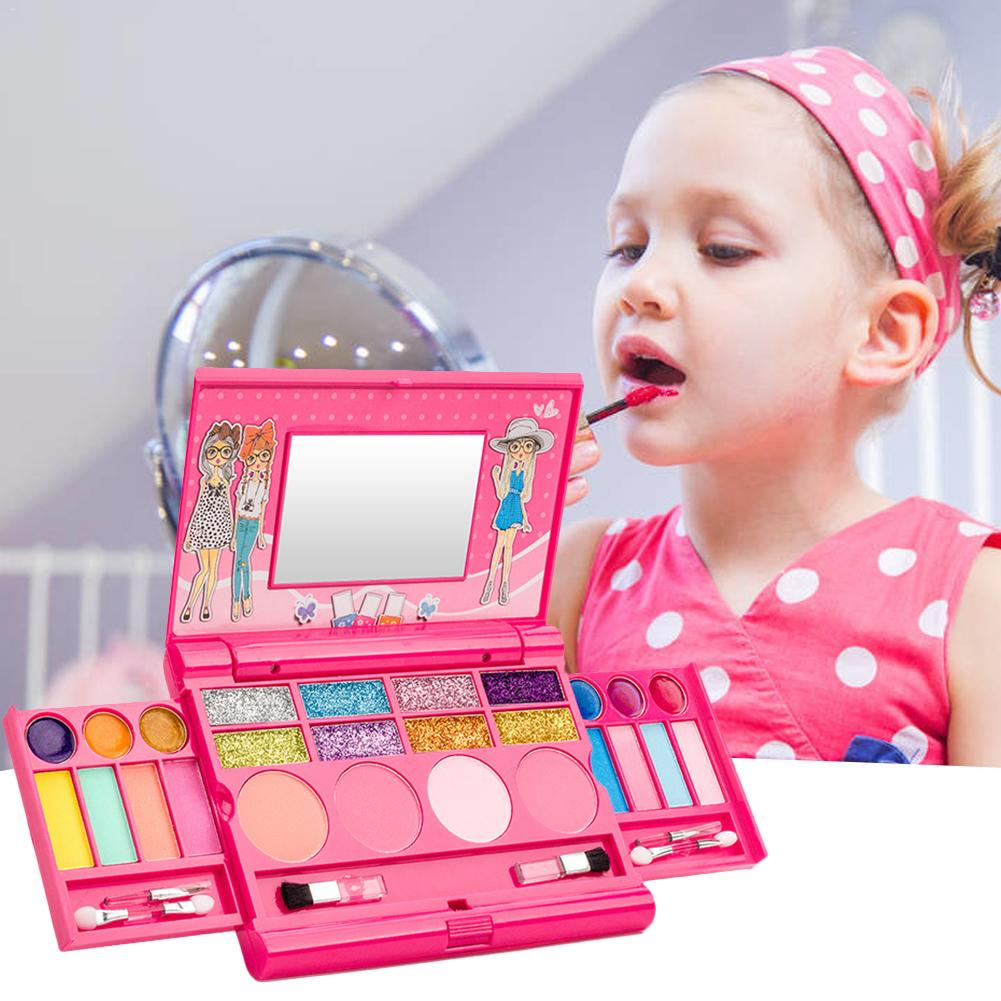 Pretend Play Kid Make Up Toys Pink Makeup Set Princess Hairdressing Simulation Plastic Toy For Girls Dressing Cosmetic