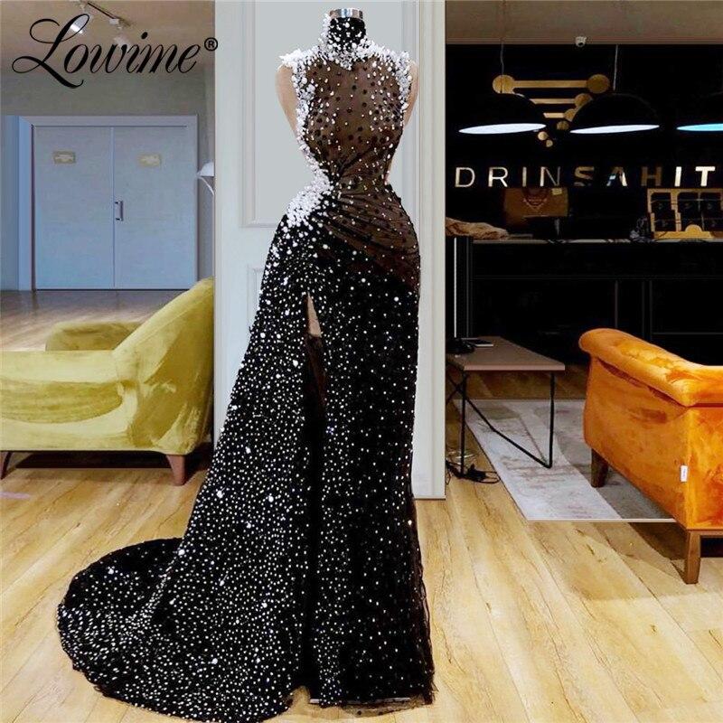 Robes de bal perlées à paillettes noires à col haut avec robe de soirée africaine Sexy côté fendu 2019 robes de soirée arabes sur mesure