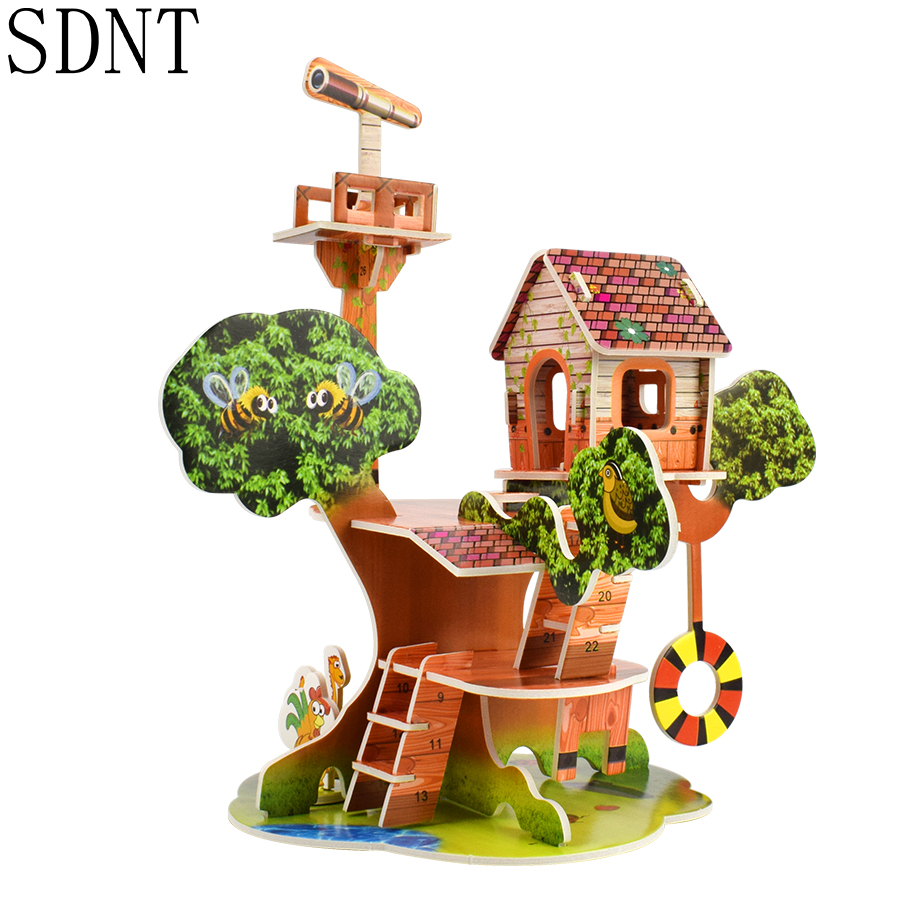 Cardboard 3D Puzzle Educational Toys For Children Iq Games Hobby Assemble Cartoon Building Harmonious Park Model DIY Kids Gifts