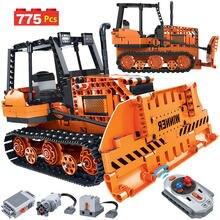 775 adet Creator uzaktan kumanda mühendislik kamyon yapı taşları yüksek teknoloji RC araba buldozer elektrikli tuğla oyuncak çocuklar için
