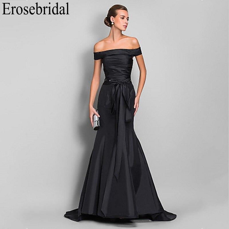 Erosebridal Black   Evening     Dress   2019 Elegant Boat Neck Design with Lace Up Back Long Formal   Dress     Evening   Gown for Women