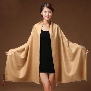Image 5 - 300 グラム秋冬固体新しい起毛ロングスカーフ女性ラクダ冬男性スカーフ女性女性パシュミナ女性のスカーフストールショール