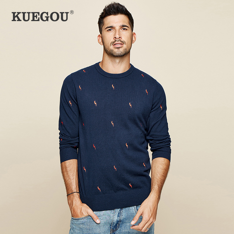 KUEGOU 2019 Autumn Wool Blue Embroidery Sweater Men Pullover Casual Jumper For Male Brand Knitted Korean New Style Clothes 19022