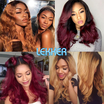 Ombre Lace Front Wig Brazilian Remy Hair Body Wave Lace Frontal Wigs 13X4 Lace Front Women Wig 1b 27 20 99j Ombre Human Hair Wig