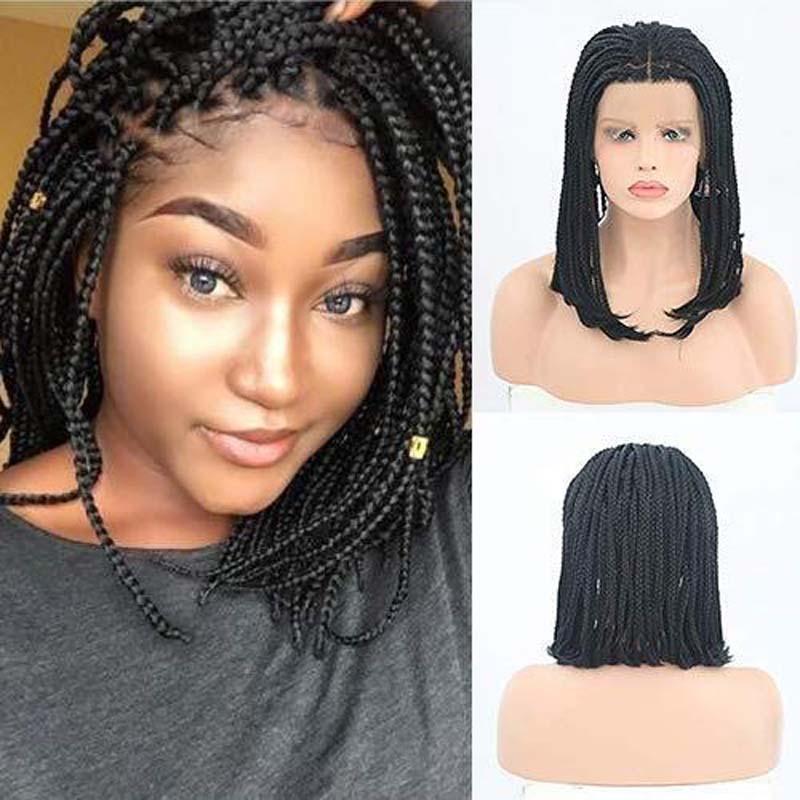 AIMEYA Black Short Box Braids Wigs For Women Middle Part Half Hand Tied Braided Bob Wig Glueless Heat Reistant Fiber Hair Wig