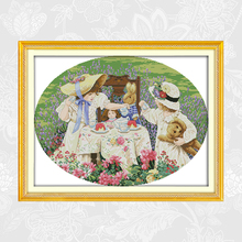 The Afternoon Tea in the Suburbs Paintings Handwork Beginner Embroidery Sets Aida Canvas 11CT 14CT Cross-stitch kits Home Decor