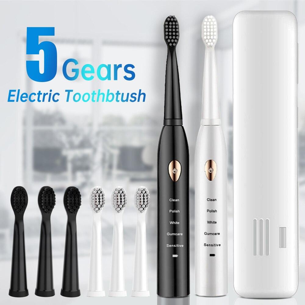 Brosse à dents électrique intelligente 5 modes, brosse à dents ultrasonique automatique pour adulte IPX7 étanche USB Rechargeable
