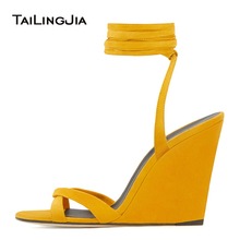 Wedges Shoes for Women 2020 Wedge Heels High Heel Black Sandals Ankle Wrapped Ladies Yellow Summer Shoes Size 12 Womens Shoes sorbern white platform shoes knee high boots for women wedge high heel ladies shoes booties womens shoes custom colors big size