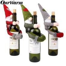 OurWarm Christmas Wine Bottle Covers Plush Faceless Doll Bottle Wrapper Topper Hats Santa Clothes Christmas Decoration for Home