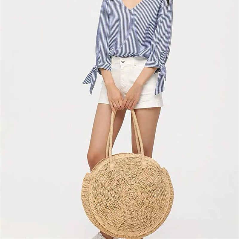 New Big Round Straw Bag Shoulder Straw Bag Ladies Summer Woven Beach Bag