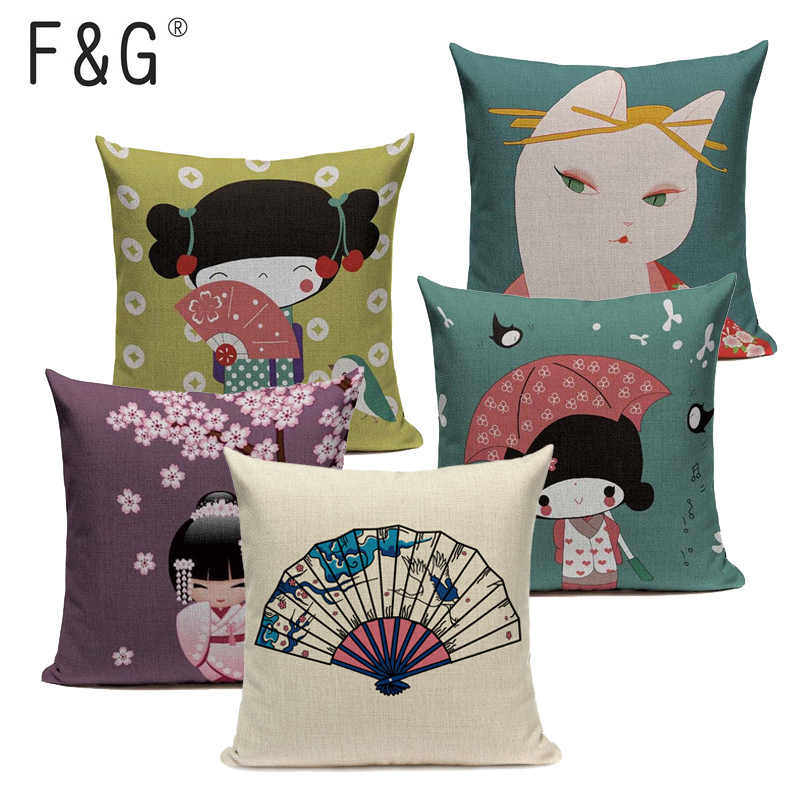 Fuji japonês Imprimir Cotton Linen Fronha Criativo Kimono Menina Onda Do Mar Decorativa Pillow Home Decor Sofá Throw Pillow Almofada