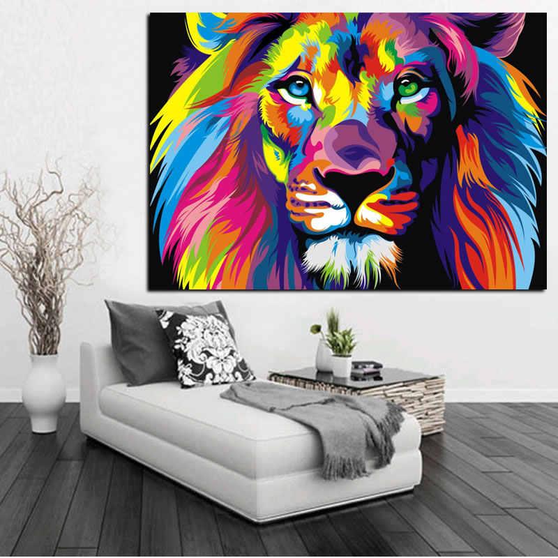 Ścienne plakaty artystyczne Home Decor 1Pc kolorowe zwierząt lew wydruki na płótnie obrazy salon modułowe obrazki do sypialni
