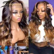13x6 Ombre Honey Blonde Body Wave Lace Front Closure Wig Pre plucked Black Women Brown Roots Human Hair Hd Lace Frontal Wig Remy