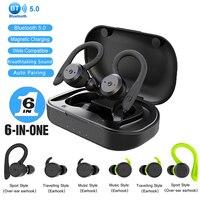 Drahtlose Kopfhörer Bluetooth 5,0 EarpieceTWS Lade Box IPX7 Sport Earbuds HD HiFi Stereo HD Surround Sound Kopfhörer Ohr Haken