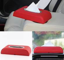 Tissue Box PU Leather Car Tissue Box Napkin Holder Storage Box for car Universal Seat Accessories(China)