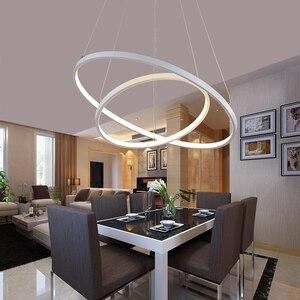 Image 3 - חדש הגעה קלאסי מעגל טבעת Led מודרני תליון אור סלון חדר שינה לבן שחור כסף זהב מסגרת בית תאורה