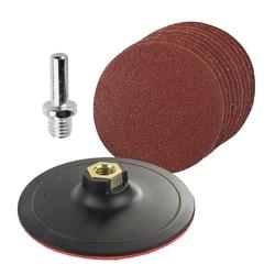 10 kawałek okrągły szlifowanie zestaw z wyściełane i wiercone Adapter do mieszane żwiru szekla 125Mm piasek Disc|Tarcze szlifierskie|   -