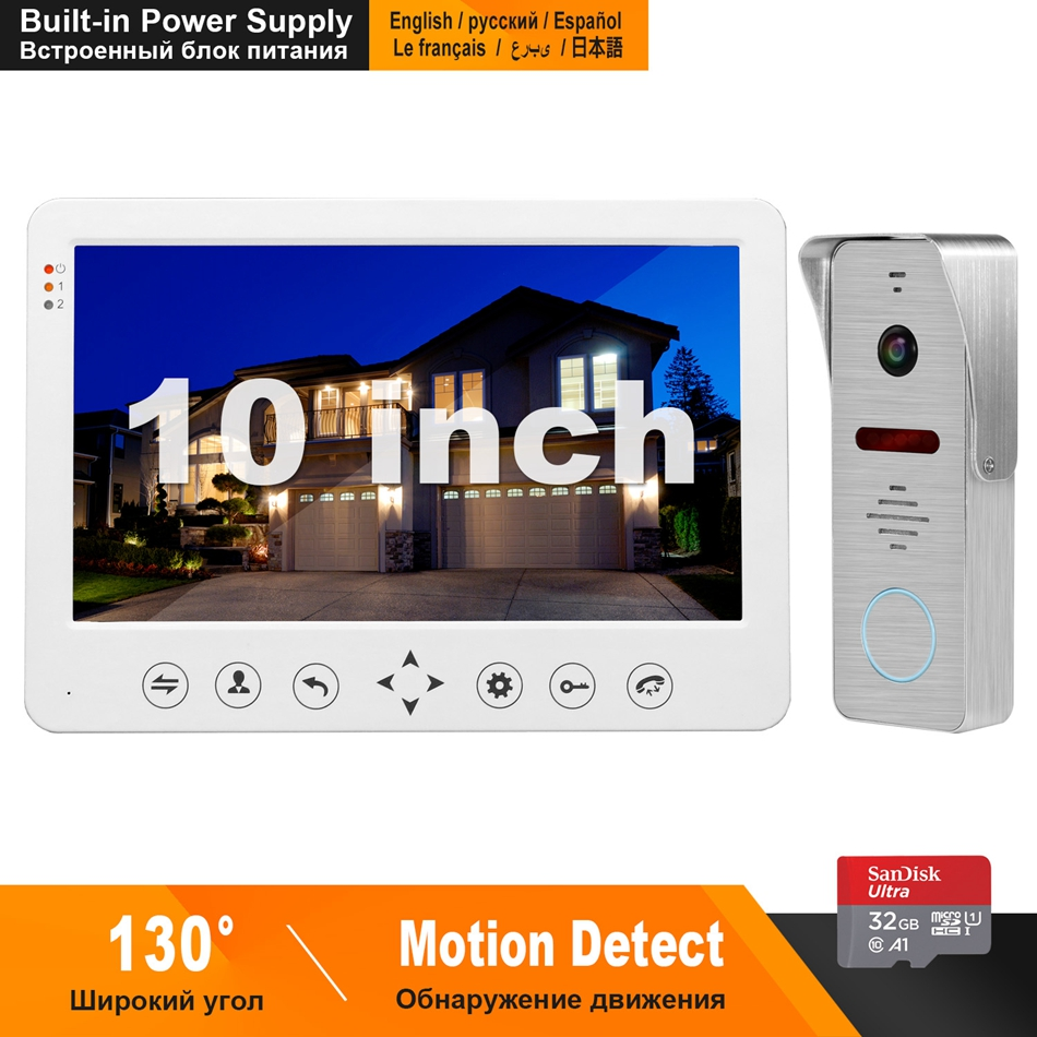 HomeFong Video Intercom Wired 10inch Monitor Built-in Power Supply 130 Degree Doorbell Camera Home Intercom Motion Detect Record