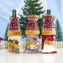 Рождественская винная бутылка льняная Снежная Санта Клаус Снеговик винная бутылка крышка Новогодний подарок для вечерние украшения для обеденного стола