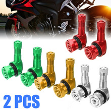 2pcs CNC Motorcycle Wheel Tire Tubeless Valve Stem Cap 90 Degree 11.3mm/0.4 Aluminum Alloy Rubber