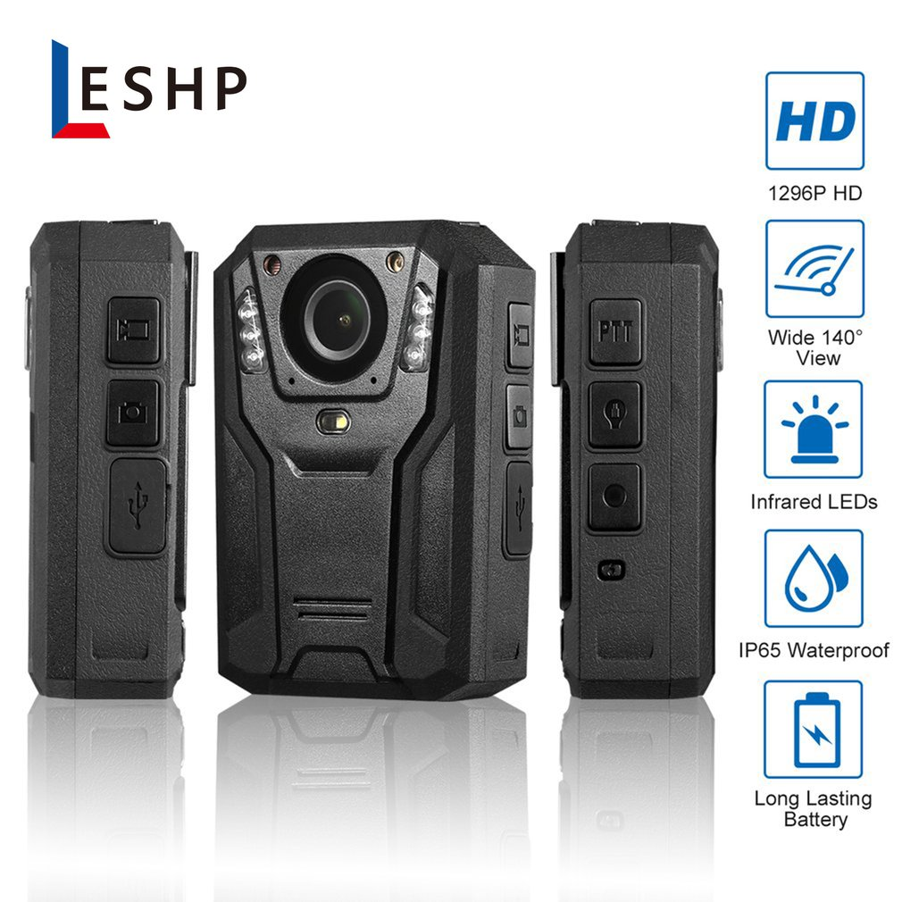 LESHP 1296P Full HD Waterproof Police Body Camera Security Gadget With 2 Inch Display Night Vision GPS Motion detection UK Plug