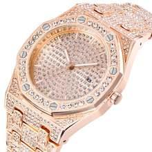Модные часы для мужчин розовое золото сверкающие бриллианты