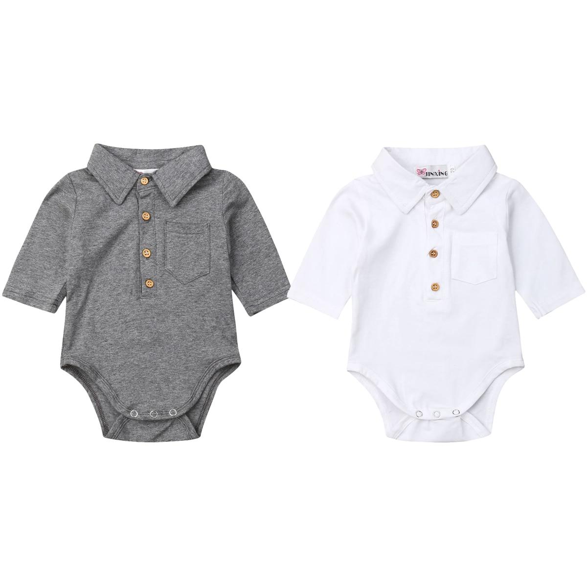 Newborn Baby Boy Long Sleeve Cotton Jumpsuit Bodysuit Pocket Button Solid Casual Bodysuit Baby Clothes