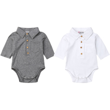 Newborn Baby Boy Long Sleeve Cotton Jumpsuit Bodysuit Pocket Button Solid Casual